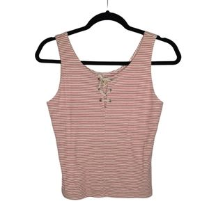 Hollister Red Stripe Lace Front Knit Crop Tank Top